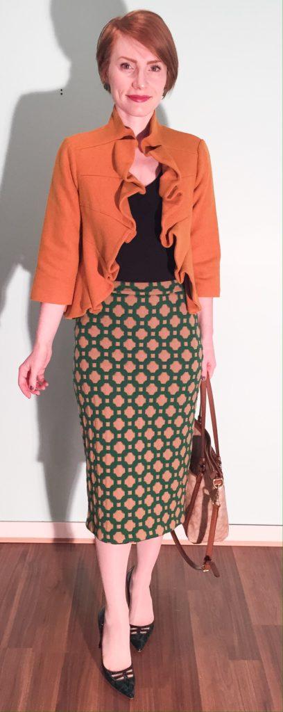 Jacket, Tabitha (via eBay); top, Gap (thrifted); skirt, Anthro (swap); shoes, Jimmy Choo (via eBay); bag, Coach (swap)