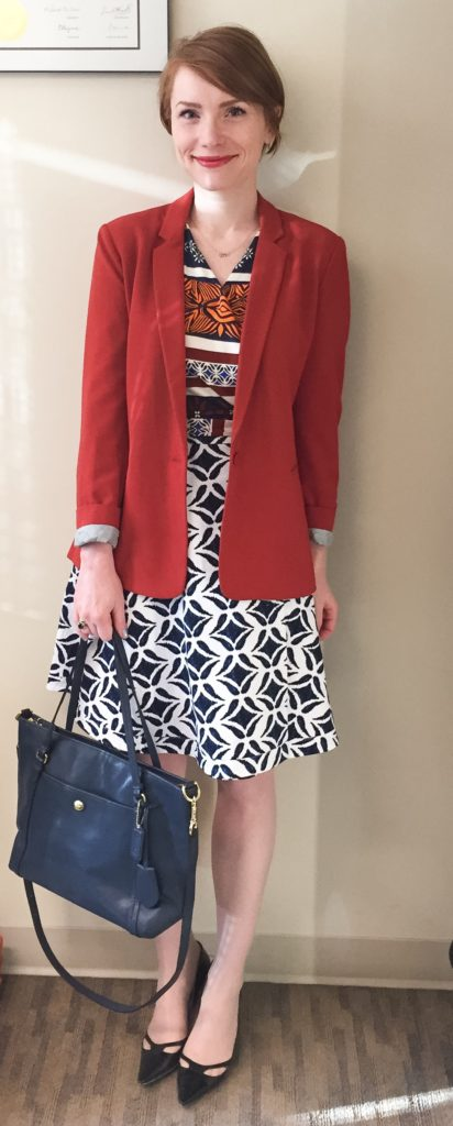 Blazer, Banana Republic (thrifted); dress, DVF (thrifted); shoes, Jimmy Choo (thrifted); bag, Coach (via eBay)