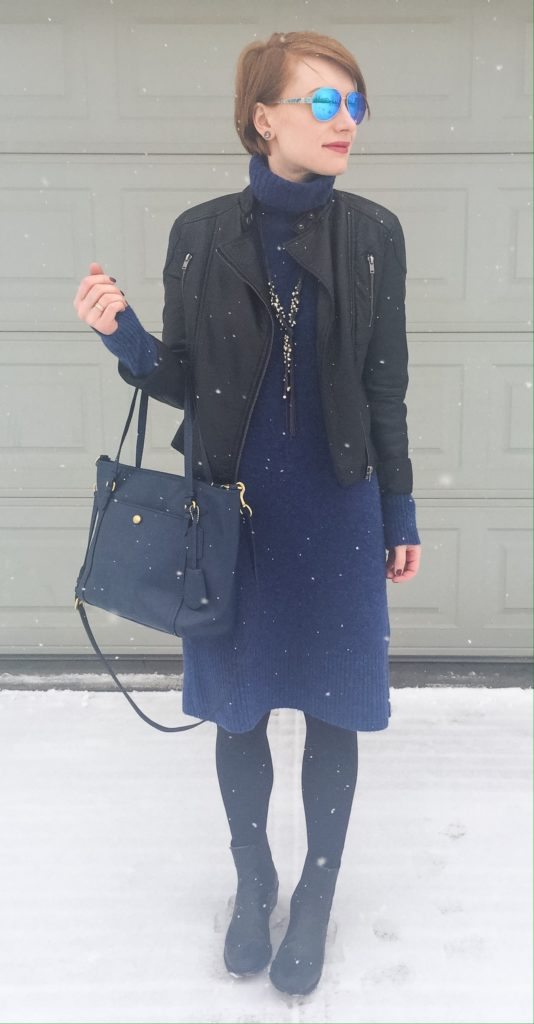 dress, Club Monaco; jacket, Joe Fresh (thrifted); bag, Coach (via eBay); boots, Frye; necklace, via consignment