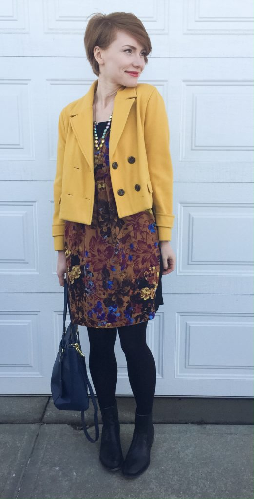 Dress & jacket, Anthropologie (thrifted); boots, Frye; bag, Coach (via eBay); necklace, J. Crew