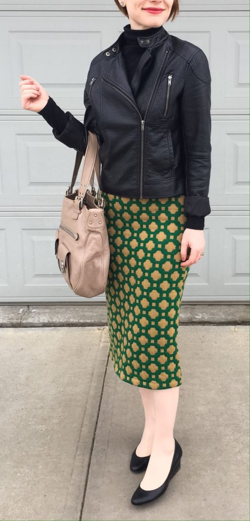 leather & pencil skirt - opposites attract?