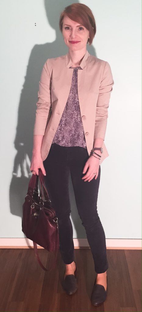 Blazer, CarlaG (thrifted); top, Rebecca Taylor (thrifted); pants, AG (thrifted); shoes, Kelsi Dagger (thrifted); bag, MbMJ