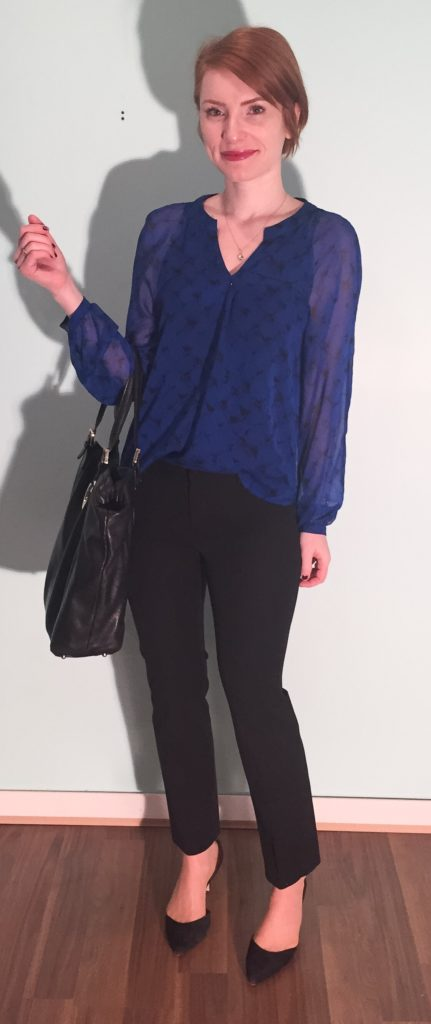 blouse, DVF (thrifted); pants, Banana Republic (thrifted); shoes, Sam Edelman (thrifted); bag, Gucci (via consignment)