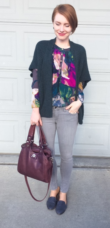 Sweater, Elsamanda (thrifted); blouse, Ted Baker (thrifted); jeans, AG (thrifted); shoes, Kelsi Dagger (thrifted); bag, MbMJ