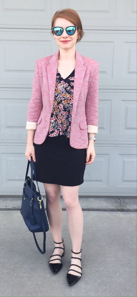 Blazer, Cartonnier (thrifted); dress, Dex (thrifted); shoes, Zara; bag, Coach (via eBay); sunglasses, Quay