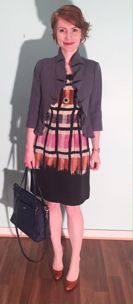 Dress, Yoana Baraschi (via eBay); jacket, Anthropologie; shoes, Ralph Lauren (thrifted); necklace, J. Crew Factory; bag, Coach (via eBay)