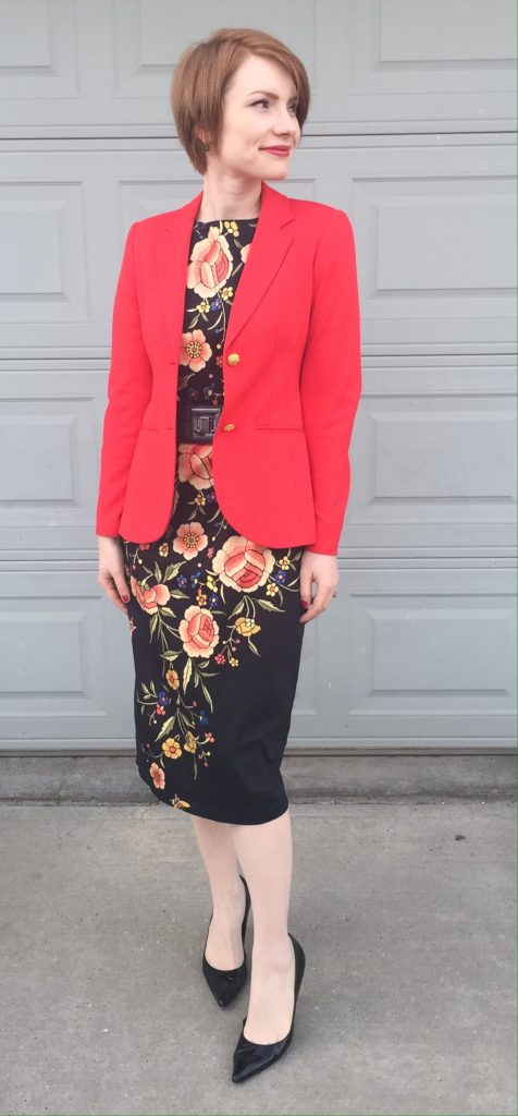 Blazer, Theory (consignment); dress, ASOS (consignment); shoes, Stuart Weitzman