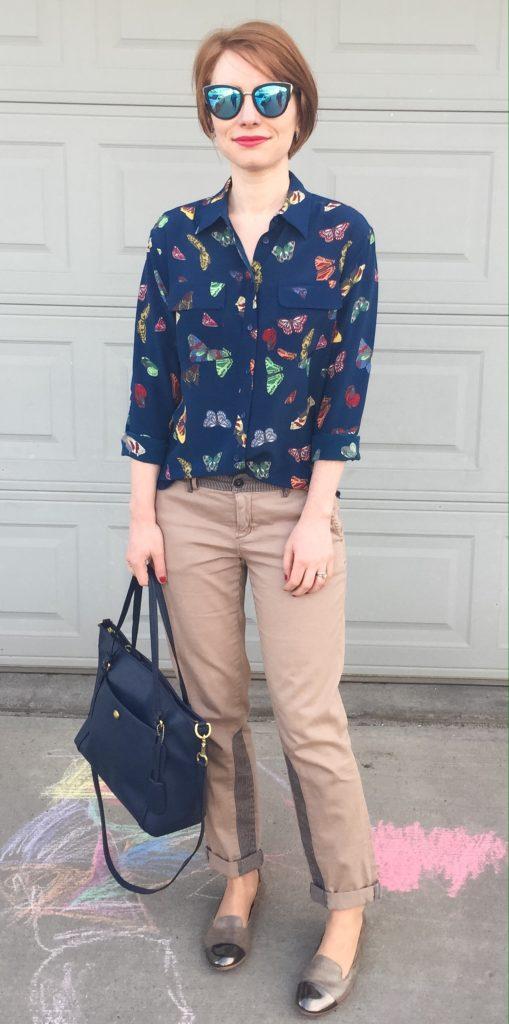 Shirt, Equipment (via Ebay); pants, Pilcro (thrifted); shoes, AGL (via consignment); bag, Coach (via eBay); sunglasses, Quay