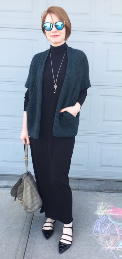 Dress, Rick Owens (thrifted); sweater, Elsamanda (thrifted); shoes, Zara; bag, YSL (thrifted); necklace, Tiffany