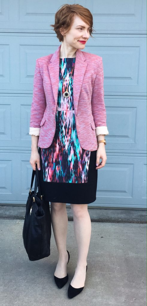 Dress, Judith & Charles (thrifted); blazer, Cartonnier (thrifted); shoes, Sam Edelman (thrifted); bag, Gucci; necklace, J. Crew Factory