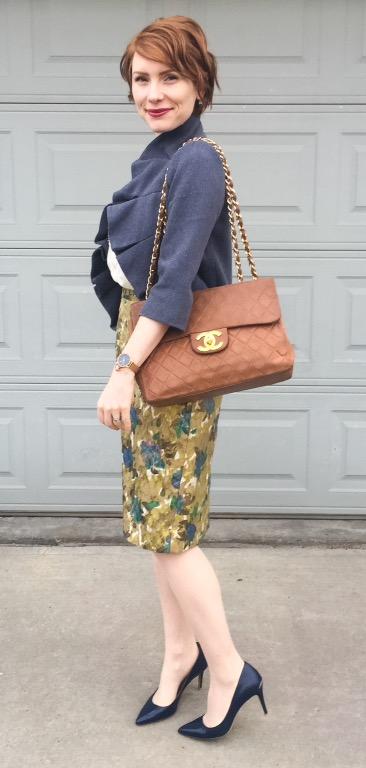 Dress, Anthropologie (via eBay); jacket, Anthropologie; shoes, CK; bag, Chanel (via consignment)