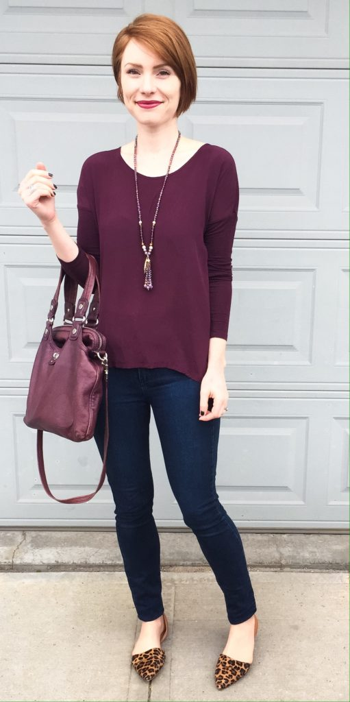 Top, Wilfred (thrifted); jeans, Paige (thrifted); bag, MbMJ; necklace, Saks Off Fifth; shoes, J. Crew Factory