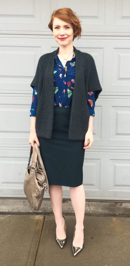Sweater, Elsamanda (thrifted); shirt Equipment; skirt, MaxMara (thrifted); bag, MbMJ