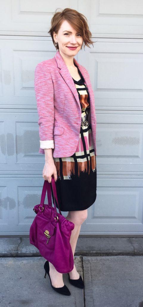 Blazer, Cartonnier (thrifted). dress, Yoana Baraschi (via eBay); belt, BCBG (thrifted); shoes, Sam Edelman (thrifted); bag, Mulberry (via eBay)