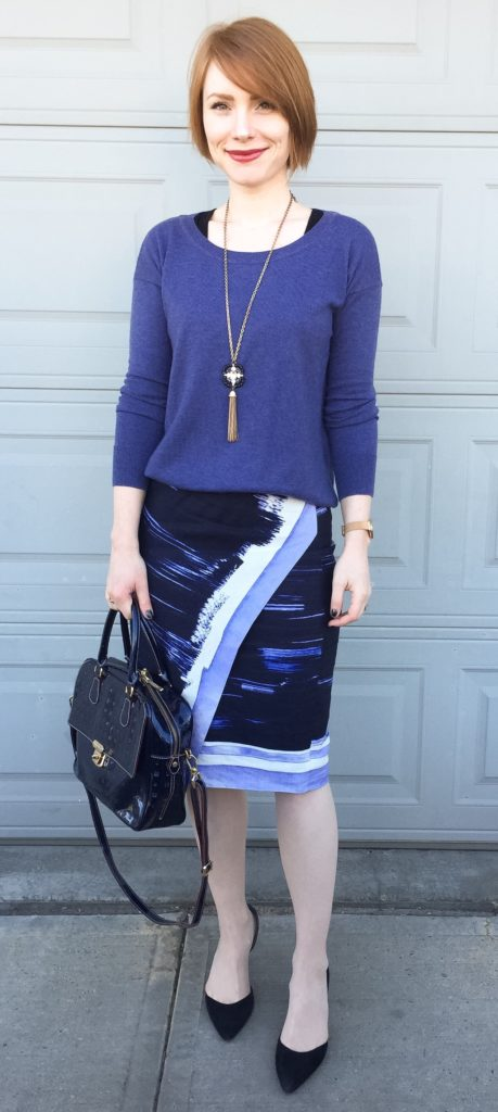 Sweater, BR (thrifted); skirt & necklace, BR; shoes, Sam Edelman (thrifted); bag, Arcadia (via ebay)