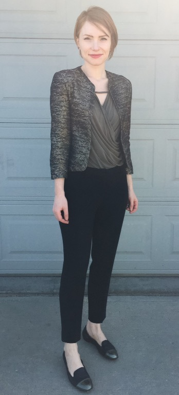 Blazer, Wilfred (thrifted); top, Deletta (thrifted); pants, Aritzia (thrifted); shoes, AGL (thrifted)