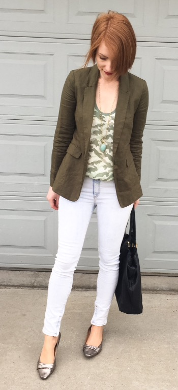 Top, Joie (thrifted); blazer, BR (thrifted); jeans, Rag & Bone; shoes, Jeffrey Campbell (thrifted); bag, Gucci (via consignment); necklace, Stella & Dot (thrifted)