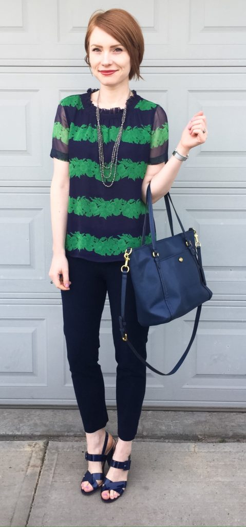 Top, J. Crew (via consignment); pants, BR (thrifted); shoes, J. Crew (thrifted); bag, Coach (via eBay); necklace, Cleo