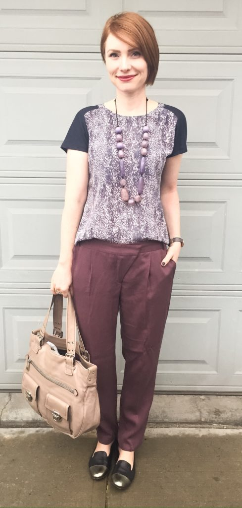 Top, Rebecca Taylor (thrifted); pants, Cartonnier (thrifted); necklace via consignment: shoes, AGL (thrifted); bag, Marc Jacobs