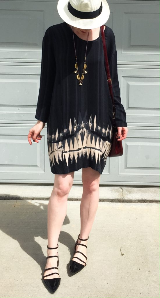 Dress, Plenty by Tracy Reese (thrifted); hat, Aritzia; shoes, Zara; necklace, J. Crew; bag, Coach (thrifted)