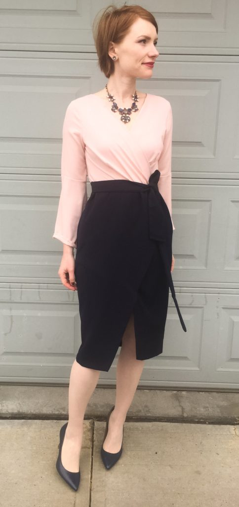 Dress, ASOS; necklace, J. Crew Factory; shoes, Calvin Klein