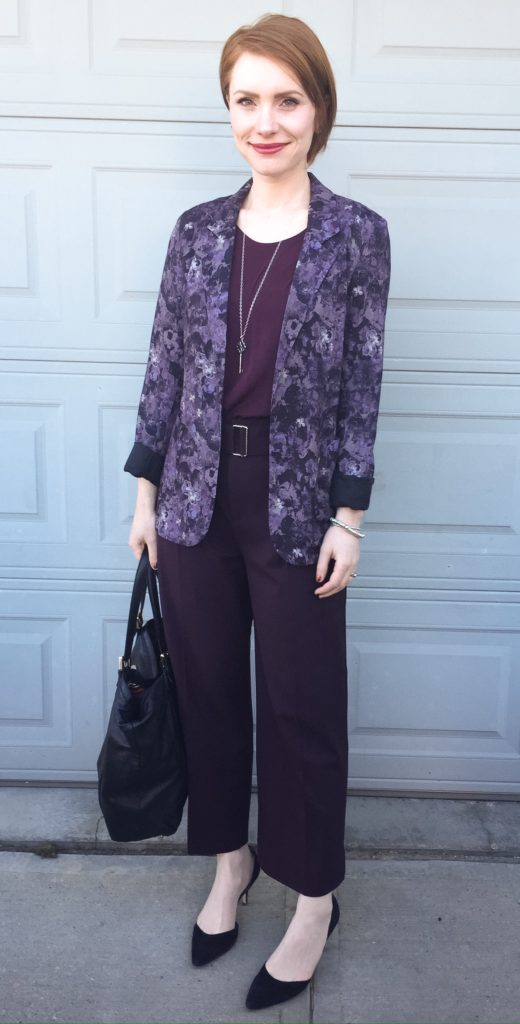 Blazer, Talula (thrifted); top, Wilfred (thrifted); pants, Club Monaco; shoes, Sam Edelman (thrifted); bag, Gucci (via consignment); necklace, Tiffany