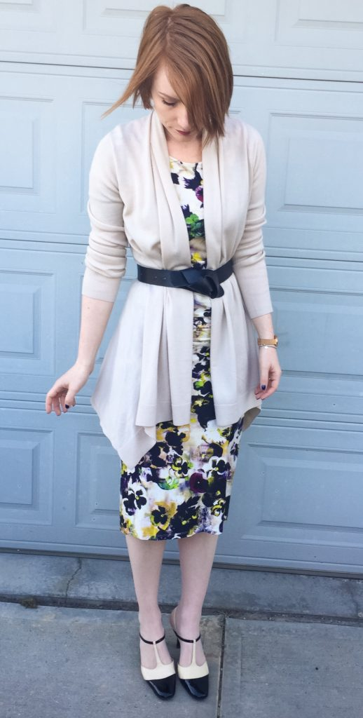 Dress, Paul Smith (via consignment); sweater, Theory; belt, H&M; shoes, Ferragamo (thrifted)