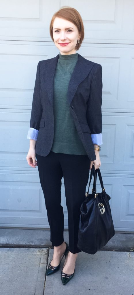 Blazer, MaxMara (thrifted); sweater, Selected Femme; pants, Aritzia (thrifted); shoes, Jimmy Choo (via eBay); bag, Gucci (via consignment)