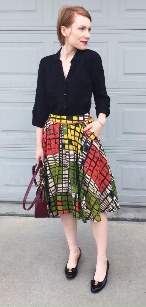 Blouse, Maeve (thrifted); skirt, Yoana Baraschi (thrifted); shoes, Ferragamo (via Etsy); bag, Coach (thrifted)