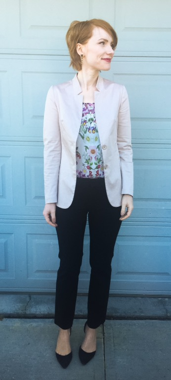 Blazer, CarlaG (thrifted); top, Vanessa Virginia (thrifted); pants, BR (thrifted); shoes, Sam Edelman (thrifted)