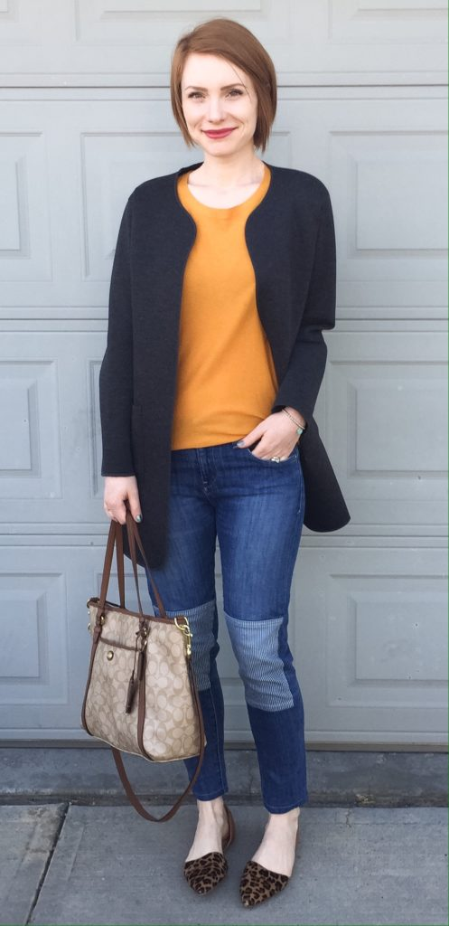 Coat, Oak & Fort (thrifted); sweater, Babaton (thrifted); jeans, Pilcro (thrifted); shoes, J. Crew Factory; bag, Coach (swap)