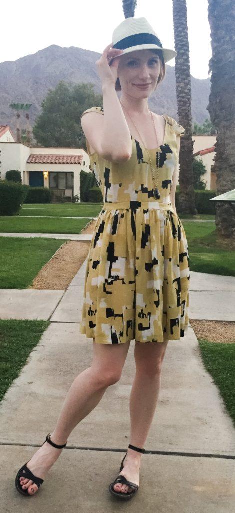 Dress, Joie (via consignment); hat, Aritzia; shoes, J. Crew Factory