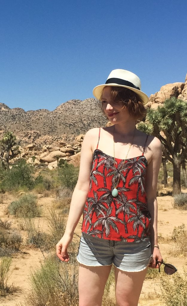 Top, Mango (thrifted); shorts, Winners; necklace, Stella & Dot (thrifted); hat, Aritzia