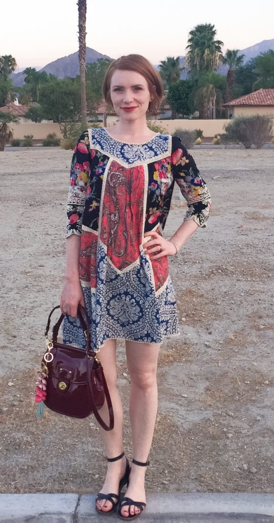 Dress, Vanessa Virginia (thrifted); shoes, J. Crew Factory; bag, Coach (thrifted)