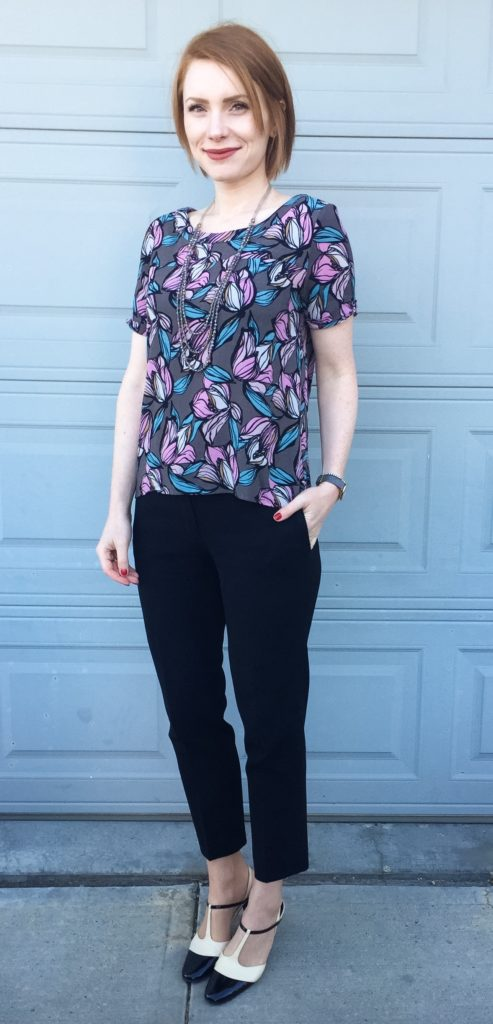 Top, LOFT (thrifted); pants, Aritzia (thrifted); necklace, Cleo; shoes, Ferragamo (thrifted)