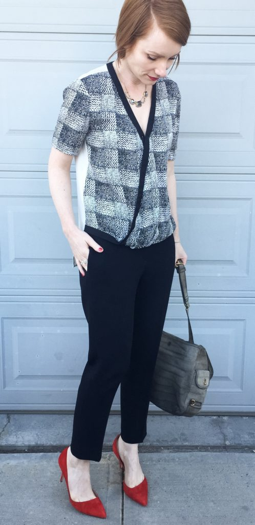 Top, Derek Lam (via consignment); pants, Aritzia (thrifted); shoes, J. Crew; necklace, Alexis Bittar; bag, YSL (via eBay)