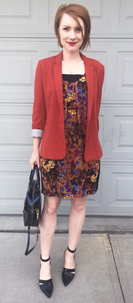 Dress, Maeve (thrifted); blazer, BR (thrifted); shoes, Nine West; bag, Arcadia (via eBay)