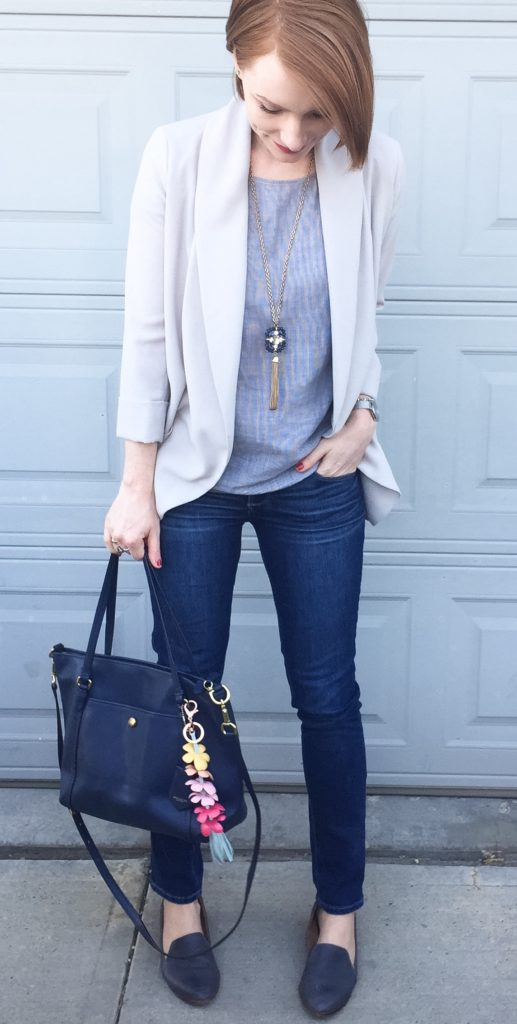 Blazer, Aritzia (thrifted); top, Theory (via consignment); necklace, BR; jeans, Paige (thrifted); shoes, Kelsi Dagger (thrifted); bag, Coach