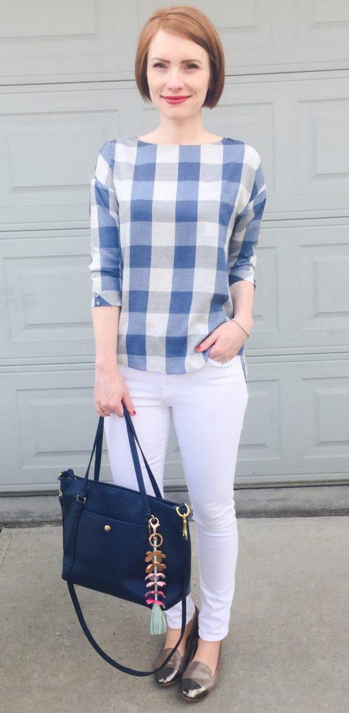 Top, RW&Co. (via consignment); jeans, Frame (via consignment); shoes, AGL (via consignment); bag, Coach (via eBay)