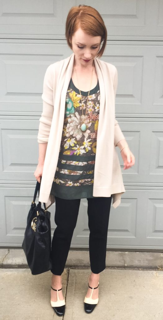 Tunic, Etro (thrifted); sweater, Theory; pants, Aritzia (thrifted); shoes, Ferragamo (thrifted); bag, Gucci (via consignment)
