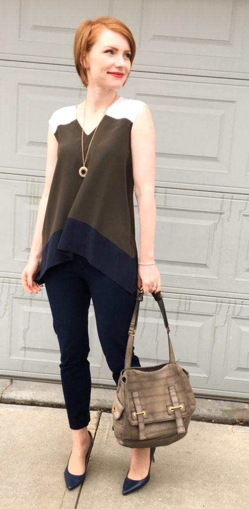 Top, Bailey44 (thrifted); pants, BR (thrifted); shoes, Calvin Klein; necklace, J. Crew Factory; bag, YSL (via eBay)