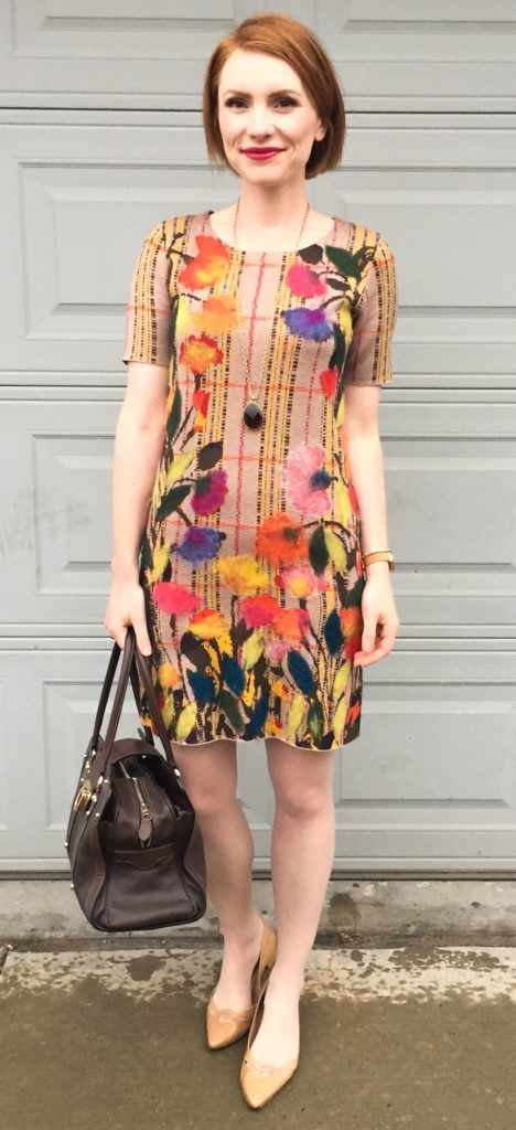 Dress, Troubadour (via FB); necklace, Stella & Dot (thrifted); shoes, Stuart Weitzman; bag, Mulberry (via eBay)