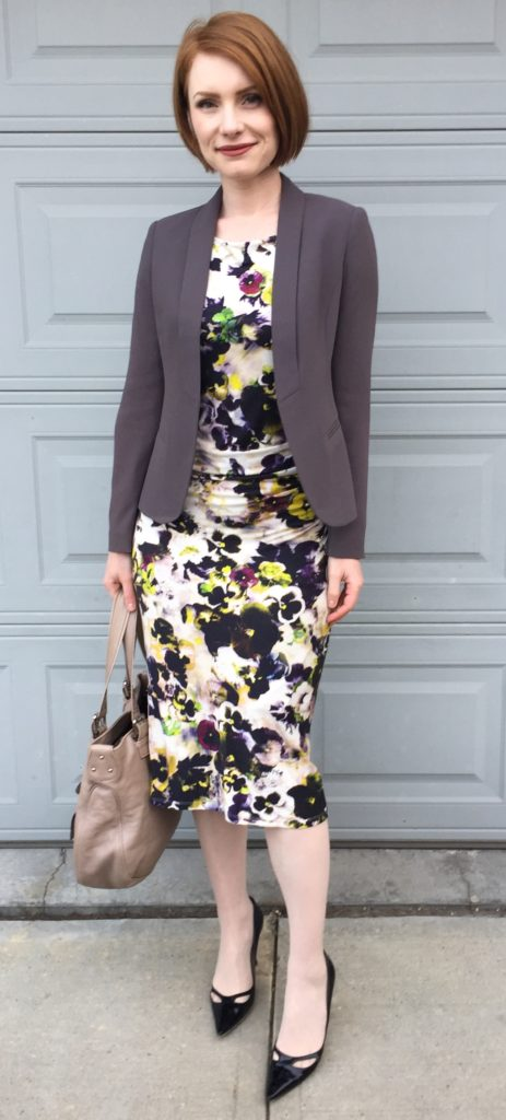 Blazer, Loft81 (via consignment); dress, Paul Smith (secondhand); shoes, Jimmy Choo (thrifted); bag, Marc Jacobs