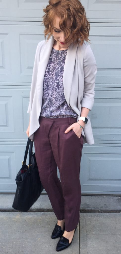 Blazer, Aritzia (thrifted); top, Rebecca Taylor (thrifted); pants, Cartonnier (thrifted); shoes, Jones NY; bag, Gucci (via consignment)