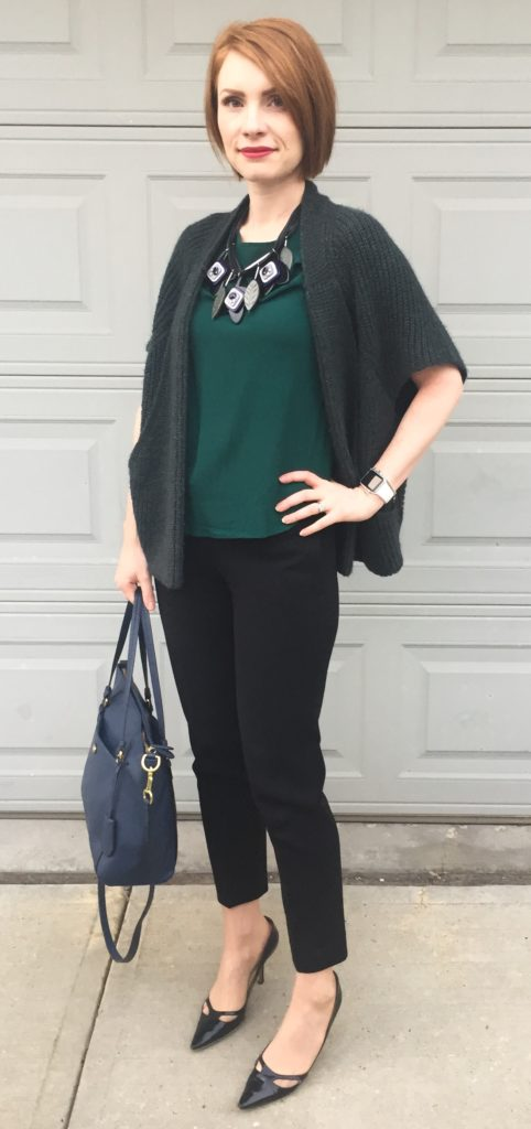 Sweater, Elsamanda (thrifted); top, H&M (thrifted); pants, Aritzia (thrifted); shoes, Jimmy Choo (thrifted); bag, Coach (via eBay)