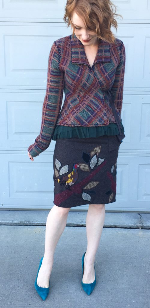 Sweater, Anthropologie (thrifted); skirt, Anthropologie (via eBay); top, Theory (thrifted); shoes, J. Crew