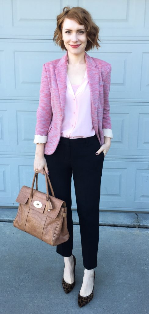 Blazer, Cartonnier (thrifted); blouse, Equipment (thrifted); tank, Joe Fresh (swap); pants, Aritzia (thrifted); shoes, J, Crew (thrifted); bag, Mulberry