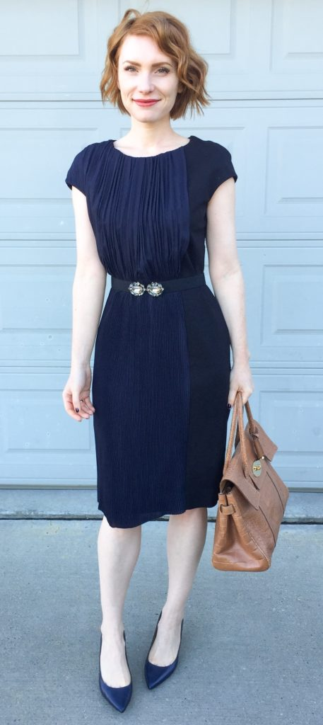 Dress, COS (thrifted); belt, BCBG (thrifted); shoes, Calvin Klein; bag, Mulberry