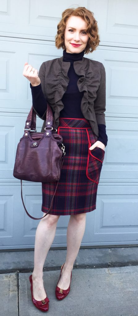Blazer, Tabitha (consignment); turtleneck, Club Monaco; skirt, Tracy Reese (consignment); shoes, Ferragamo (consignment); bag, MbMJ