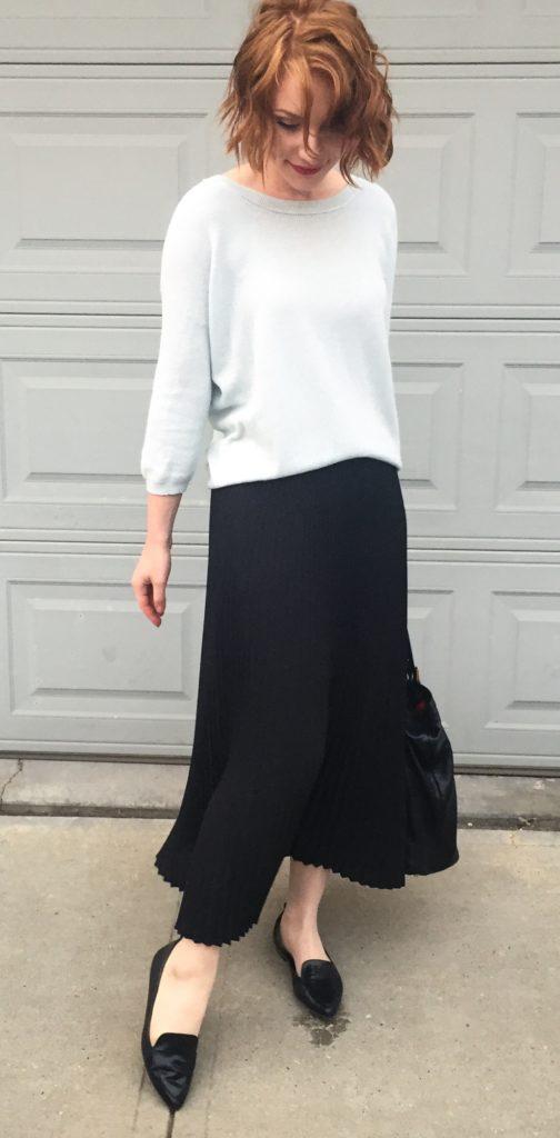 Sweater & skirt, Aritzia (via consignment); shoes, Jones NY; bag, Gucci (via consignment)